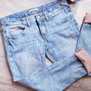 Free People Ankle Jeans Contrast Cuffs 28 / 32
